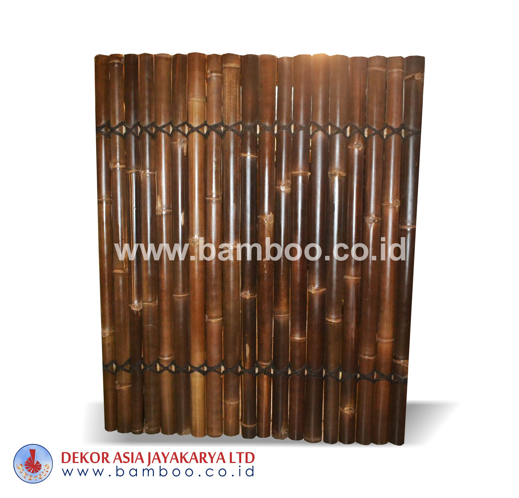 Half cut Black bamboo fence 2 back slats black coco rope