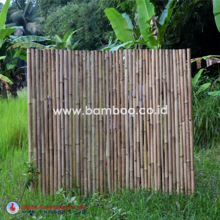 Natural full round rool bamboo fence with stainless steel