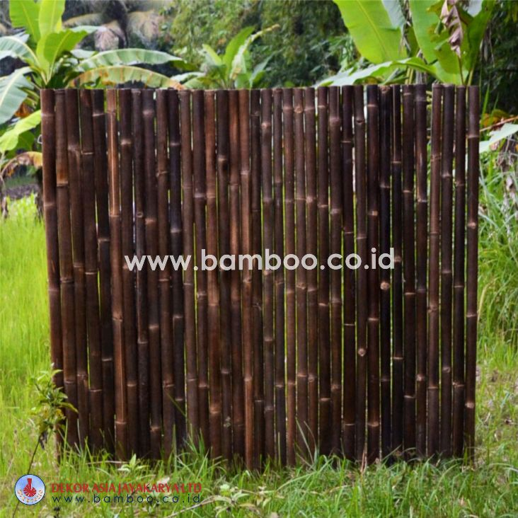 Black full round roll bamboo fence with stainless steel